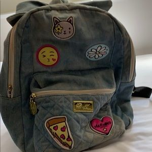 Denim backpack with cute design patches